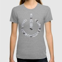 Power Up Womens Fitted Tee Tri-Grey SMALL