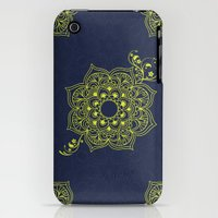 iPhone 3Gs & iPhone 3G Cases featuring Mandala I - Navy & Gold by Ale Ibanez