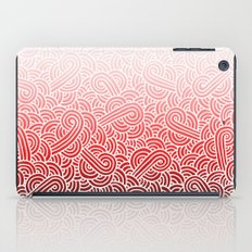 Ombre red and white swirls doodles iPad Case