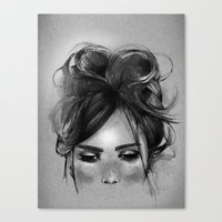 Sweet freckles girl face Canvas Print