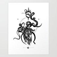 moon goat Art Print