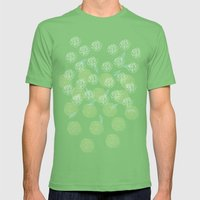 Pastel Peony and Leaf Pattern Design  Mens Fitted Tee Grass SMALL