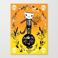 Day Of The Dead Cat  Canvas Print