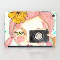 Smile ! girl with photo camera iPad Case