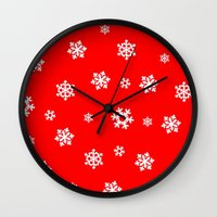 Snowflakes (White On Red… Wall Clock