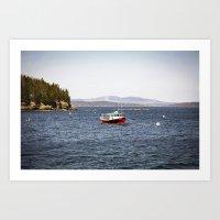Lobsterman's Red Boat - … Art Print