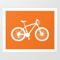 Mountain Bike Orange Art Print
