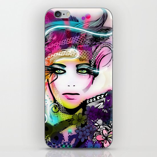 colorful floral illustration iPhone & iPod Skin
