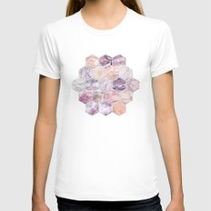 Rose Quartz and Amethyst Stone and Marble Hexagon Tiles Womens Fitted Tee White SMALL