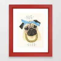 Pug life - pug dog Framed Art Print