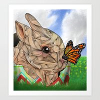 Bunny and Butterfly Art Print