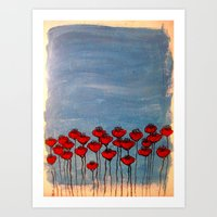 Sea of poppies. Art Print