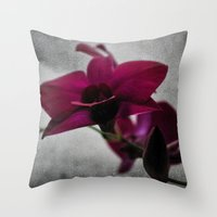 Orchid On Charcoal Throw Pillow