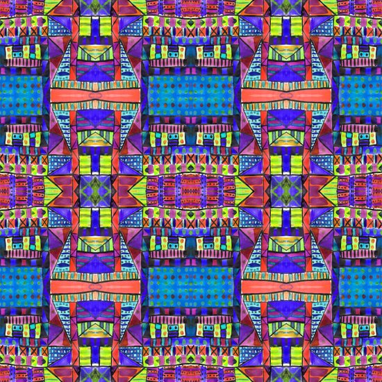 Tribal Patchwork II Blue Art Print