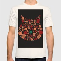Trash Cat Pattern Mens Fitted Tee Natural SMALL