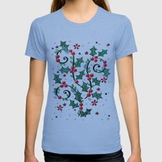 Christmas Curls Womens Fitted Tee Athletic Blue SMALL