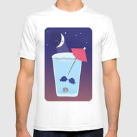 Waxing Waterglass Moon  Mens Fitted Tee White SMALL