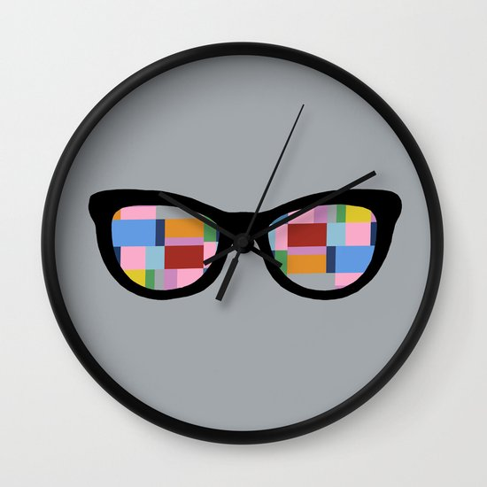 Square Eyes on Grey Wall Clock