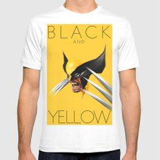 BLACK AND YELLOW Mens Fitted Tee White SMALL
