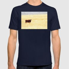 Grazing Cow Mens Fitted Tee Navy SMALL