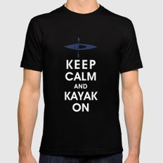 Keep Calm and Kayak On Black Mens Fitted Tee SMALL
