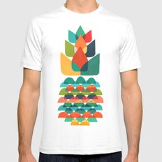Colorful Whimsical Ananas Mens Fitted Tee White SMALL