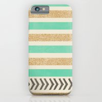 iPhone & iPod Case featuring MINT AND GOLD STRIPES AND ARROWS by Allyson Johnson