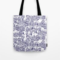 Doctor Who Toile de Jouy | 'Walking Doodle' | Blue Tote Bag