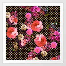 Elegant Pink Vintage Flowers Black Gold Polka Dots Art Print