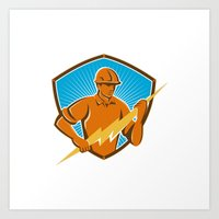 Electrician Construction… Art Print