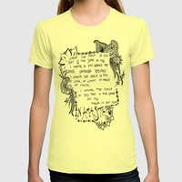 Namaste Doodle Womens Fitted Tee Lemon SMALL