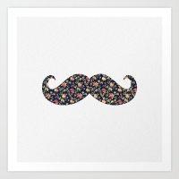 Funny Girly Mustache Pink Vintage Floral Pattern Art Print
