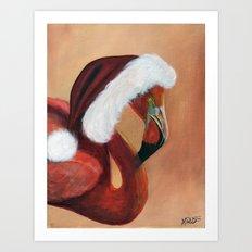 Christmas Flamingo Art Print