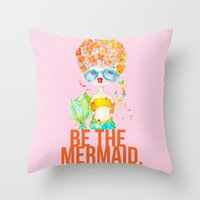 pink lemonade -- be the mermaid. Throw Pillow