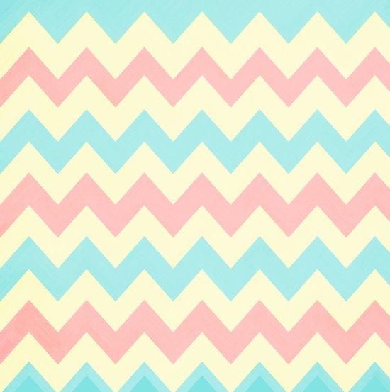 Summer Pink & Blue Chevron Art Print