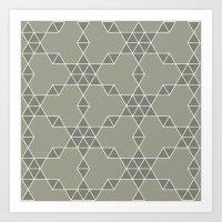 Warm gray hexagon pattern Art Print