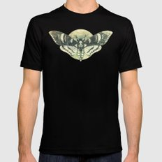 Moth And Moon Black Mens Fitted Tee SMALL