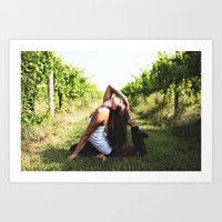 Vineyard Yoga Art Print