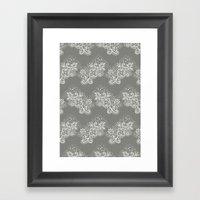 White On Grey Lace Framed Art Print