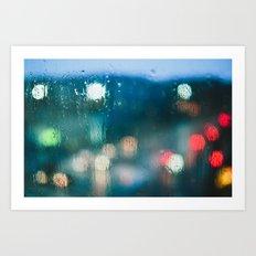 Blurred Raindrops Art Print