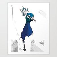 Peacock Head Art Print