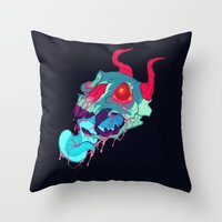 Pink Skull Goop Throw Pillow