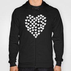 Hearts on Heart White on Black Hoody
