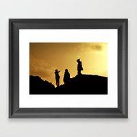 Hiking By Sunset Framed Art Print