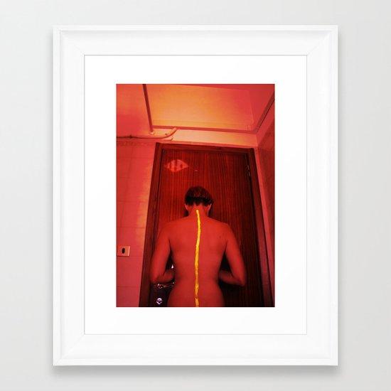 Don't cross the yellow line Framed Art Print