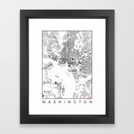Framed Art Print featuring Washington Schwarzplan by City Map Art