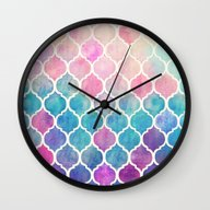 Rainbow Pastel Watercolo… Wall Clock