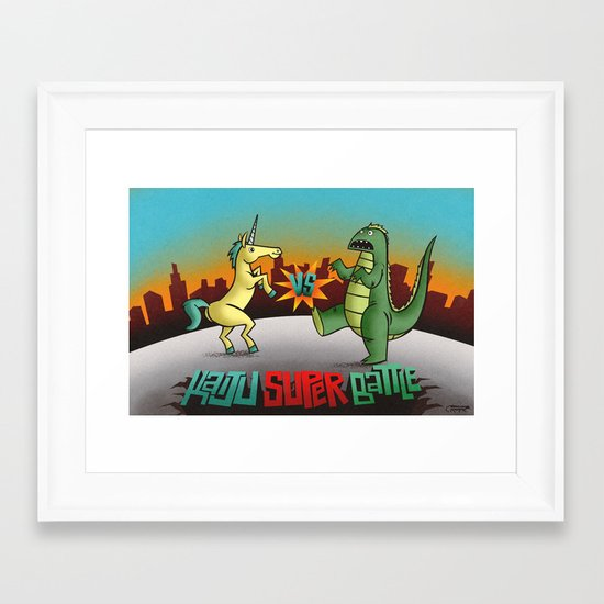 Unicorn VS Gogojira! Framed Art Print