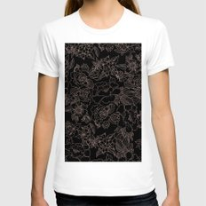 Pink coral tan black floral illustration pattern Womens Fitted Tee White SMALL