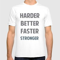 HARDER BETTER FASTER STR… Mens Fitted Tee White SMALL
